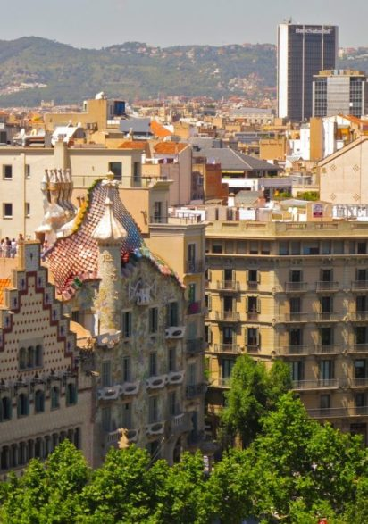 View of Casa Batllo from the rooftop of the Mandarin Oriental.