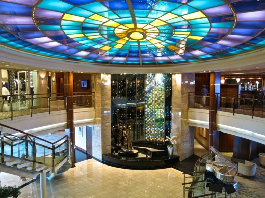 Crystal Serenity's Crystal Cove serves as the ship's stunning centerpiece and main gathering area.