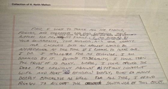 Richard Hanssen's letter of apology.