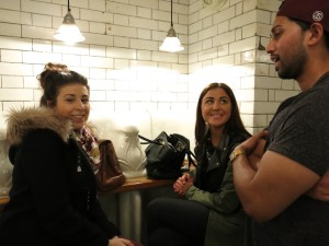 Helloooo, ladies! Chatting up the girls at the urinals.