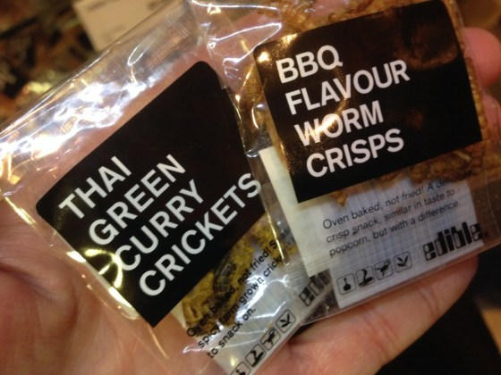 """Small print on worm crisps packaging: """"Similar taste to popcorn, but with a difference."""" That difference being, this snack is MADE OUT OF WORMS. So, um, yes...not quite popcorn."""