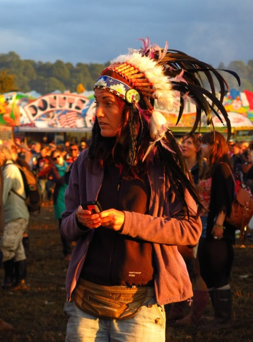 """Pocahontas on her mobile phone. """"I'm not getting a smoke signal here."""""""