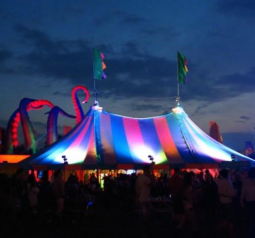 Rainbow tent at night