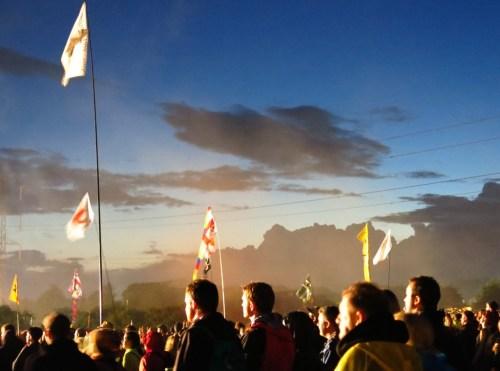 Arcade Fire crowd at sunset