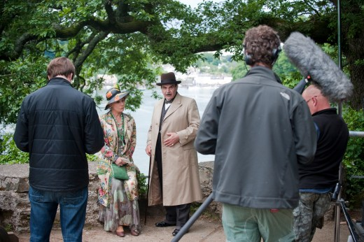 David Suchet as Hercule Poirot, filming at Agatha Christie's home, Greenway. Hercule Poirot, ©NationalTrust