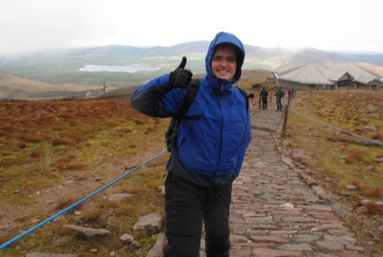 A fellow hiker sums up our experience. We're wet, frozen, and could really use a wee--but happy to have (almost) conquered the Highlands.