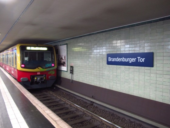 """Brandenburger Tor is one of the former """"ghost stations"""" which was closed for decades after the wall went up. Trains could pass from West Germany, but they couldn't stop, and armed guards stood on the platform to be sure of it. That would have been a pretty creepy commute."""