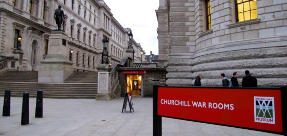 The entrance to the Churchill War Rooms, which lie beneath Whitehall in London.
