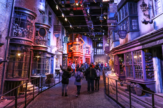 Strolling down Diagon Alley, with its authentic-looking shop windows, feels as though you're walking in Harry's footsteps. © Amy Laughinghouse