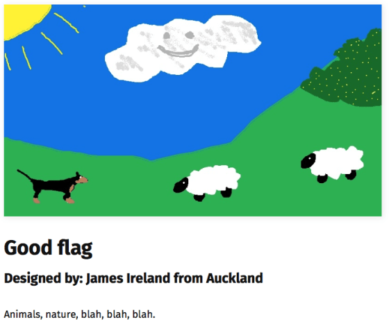 Proposed new New Zealand flag featuring sheep and a dog beneath a fluffy white cloud.