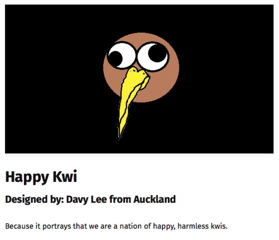 Proposed New Zealand flag featuring a google-eyed happy kiwi bird.