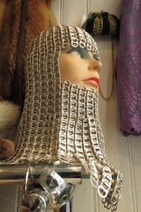 Chain mail headpiece fashioned from soda can pop tops at Laura Dols shop in De 9 Straatjes, Amsterdam