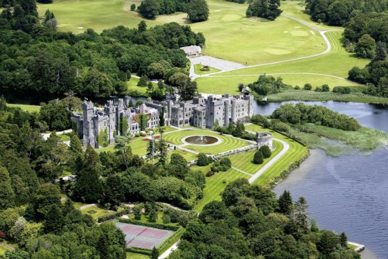 aerial view of Ashford Castle on the shores of Lough Corrib