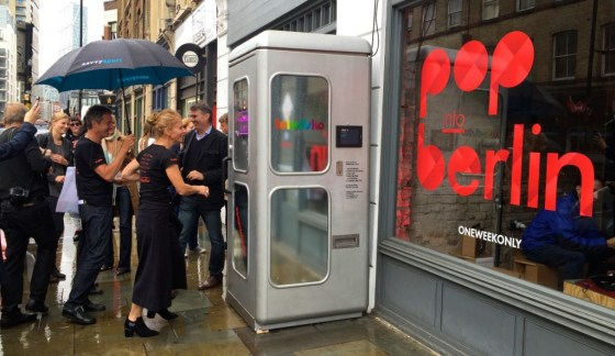 A line forming for the world's smallest disco outside the Berlin pop-up shop in Shoreditch, London