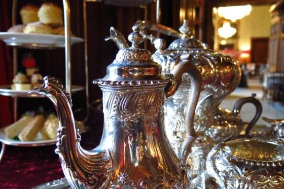 gleaming antique silver tea set