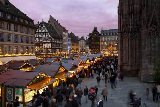 A Christmas market in Strasbourg, France. Credit Christophe Hamm, Greater Strasbourg Tourist Office.