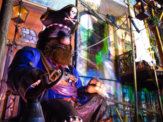 animatronic pirate with a hook for a hand at Winter Wonderland Christmas Market at London, England's Hyde Park