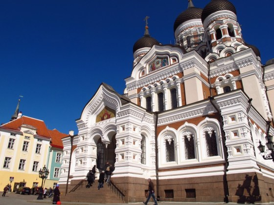 The Orthodox Cathedral of Alexander Nevsky presides over Tallinn's Toompea (Castle Hill) like a Faberge jewel box. Copyright Amy Laughinghouse.