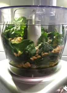 pesto ingredients in a food processor