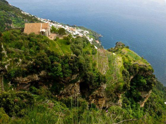 Vertiginous view of terraced fields and the Mediterranean Sea from the Sentiero Degli Dei, the Path of the Gods