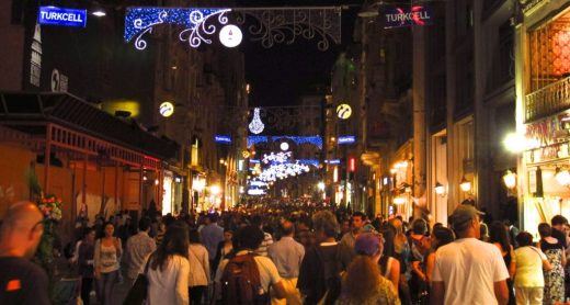 After dark, crowds fill Istikal Caddesi, one of Istanbul's most popular shopping avenues.