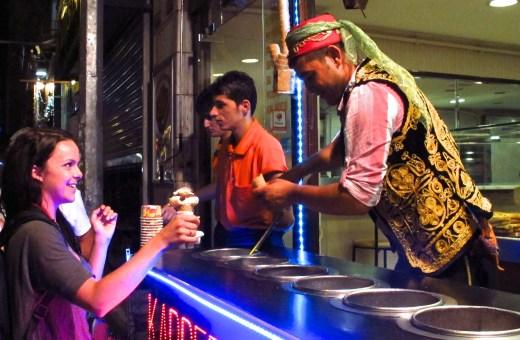 Ice cream vendor on Istiklal Caddesi in Istanbul