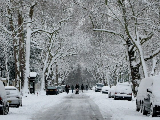 Snow-coverd cars flank Kensington Palace Gardens.