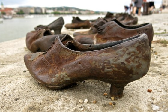 The Shoes on the Danube Bank is an installation of dozens of pairs of cast iron shoes, placed here as a memorial to Jews who were shot by the water's edge by fascist Arrow Cross militiamen in Budapest during World War II.