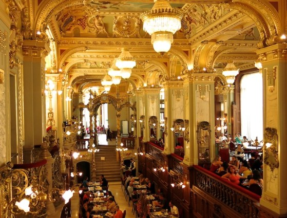 the elaborate New York Cafe in Budapest, a traditional Hungarian coffee house