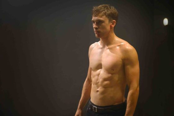 William Moseley, revealing a ripped torso as a shirtless Prince Liam on The Royals. Courtesy E!