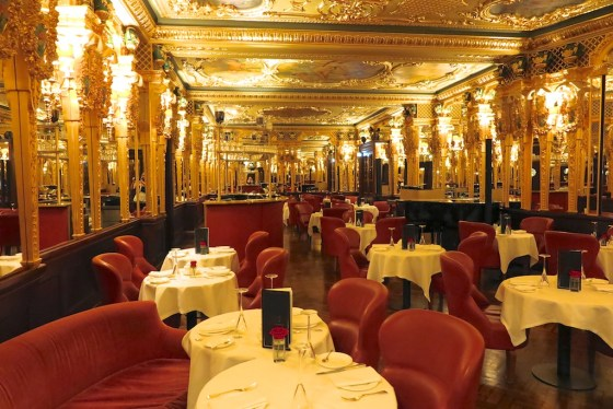 The gilded Oscar Wilde Room at Hotel Cafe Royal near Piccadilly Circus in London. Copyright Amy Laughinghouse.