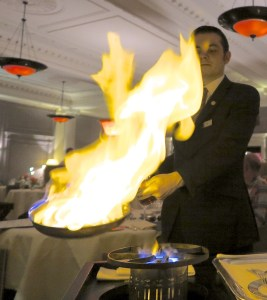 Waiter cooking Steak Diane at The Strathearn at Gleneagles. © Amy Laughinghouse.