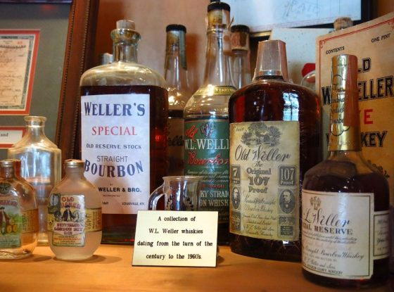 A collection of historic bourbon whiskies on display at the Buffalo Trace Distillery in Frankfurt, Kentucky.