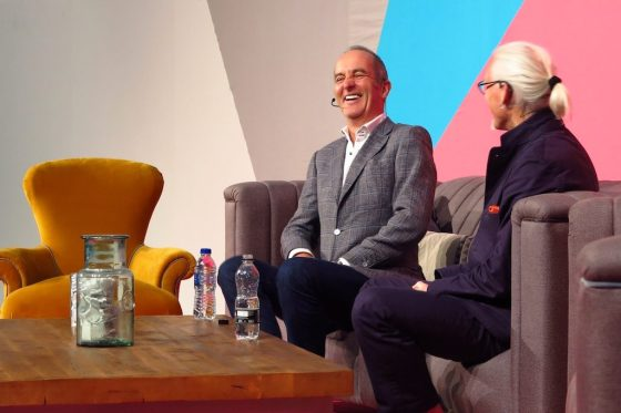 Kevin McCloud (left) and architect Meredith Bowles discuss the Grand Designs House of the Year at Grand Designs Live.