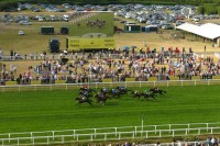 thoroughbred horses racing on the track at Royal Ascot