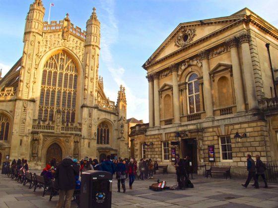 The courtyard of Bath Abbey, a landmark in Jane Austen's Bath, England.