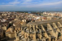 Tortosa, Catalonia, Spain skyline with Cathedral of Saint Mary and Ebro River. Copyright Amy Laughinghouse