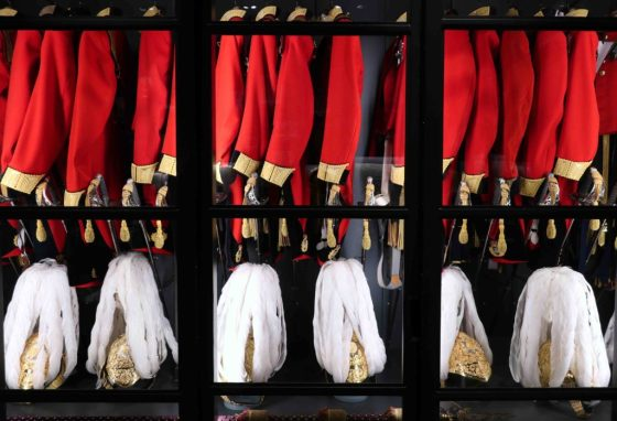 Gieves & Hawkes, the esteemed menswear tailor, makes the uniforms for the Honourable Corps of Gentleman at Arms, the Queen's bodyguard. They're stored at the tailor's headquarters at 1 Saville Row in London. © Amy Laughinghouse