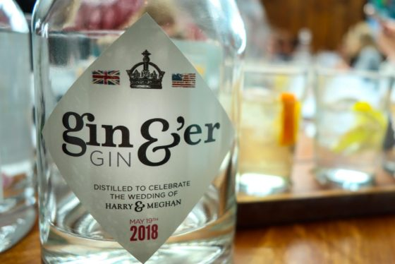 The Queen Charlotte pub in Windsor has commissioned a special ginger gin to celebrate the wedding of Prince Harry and Meghan Markle. Each of the 250 limited edition bottles costs about £32 ($45). © Amy Laughinghouse