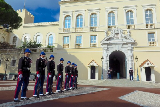 The changing of the guard at the Prince's Palace of Monaco. Copyright Amy Laughinghouse