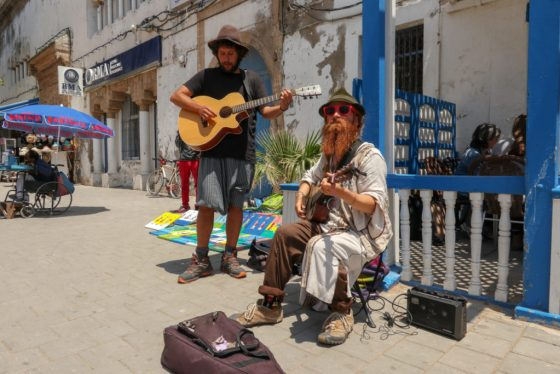 Bearded street buskers capture the hippie vibe that still reverberates in Essaouira. Copyright Amy Laughinghouse.