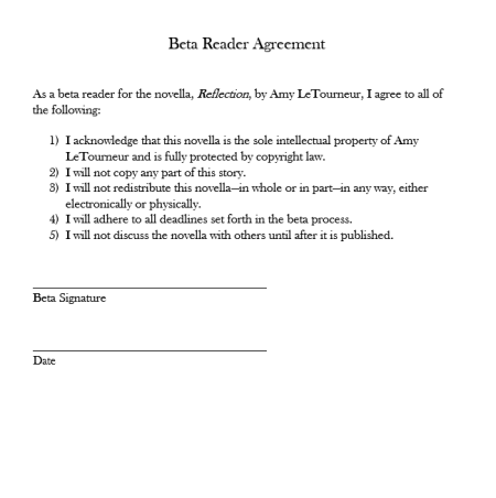 Beta Reader Agreement by Amy LeTourneur