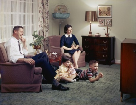 Typical 1950's household TV viewing