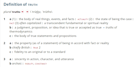 Clip from truth definition on Merriam-Webster website.