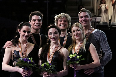 The medal winners in ice dancing at the 2013 world championship.  Will they all end up in the same spot at the Olympics?  Photo by Wikipedia user David W. Carmichael