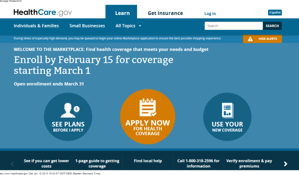 A screenshot of the home page of the U.S. government website healthcare.gov on January 18, 2014.