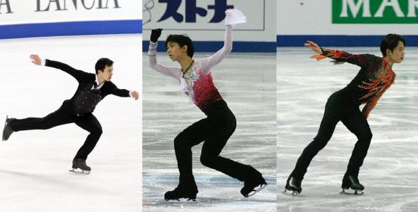 Predictions for the men's event (L-R): Patrick Chan - gold, Yuzuru Hanyu - silver, and Tatsuki Machida - bronze.  Photos by Wikipedia users (L-R) David W. Carmichael, Luu, and Luu again.