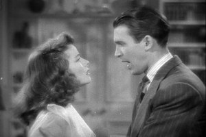 """An image from the trailer for Katharine Hepburn's 1940 film """"The Philadelphia Story"""".  She is on the left and James """"Jimmy"""" Stewart is on the right."""