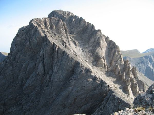 The Mytikas summit of Mount Olympus in Greece. Photo by Wikipedia users Melkov and Hike395