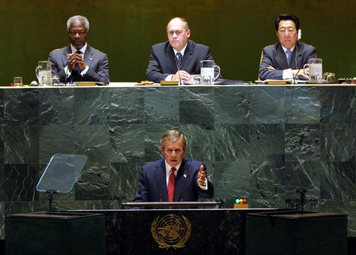 U.S. President George W. Bush addressed the U.N. General Assembly in September 2002, an important moment in the lead-up to the Iraq War. White House photo by Paul Morse